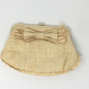 J. Crew Women's Straw Raffia Natural Clutch Bag